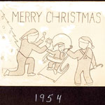 Caption: MERRY CTRISTMAS. [Inside] from Dorothy, Bill, Little Bill, Kyle and Garret Toffey. *arrived June 2, 1954.