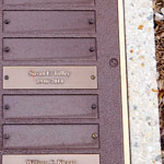 First of ten Toffey's death in Memorial Garden Plaques, stone, Susan F. Toffey. 1946-2014, 68 years.
